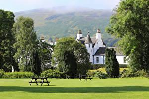 Fotos Schottland Park Haus Bäume Rasen Bank (Möbel) Blair castle Park