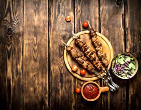 Wallpaper Shashlik Salads Tomatoes Boards Cutting board Ketchup