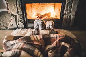 Image Socks Legs Fireplace