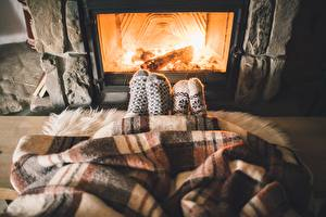 Image Socks Legs Fireplace