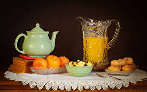 Picture Still-life Juice Orange fruit Kettle Pastry Black background Jug container Food