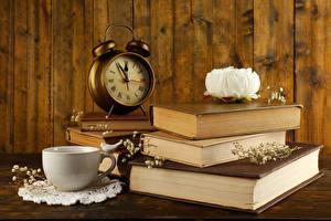 Picture Still-life Paeony Clock Alarm clock Books Cup