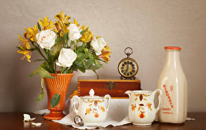 Pictures Still-life Roses Milk Clock Alstroemeria Vase Bottles Pitcher flower