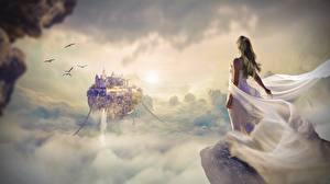 Bakgrundsbilder på skrivbordet Soluppgångar och solnedgångar Borg Klänning Molnen Klint landform Fantasy Unga_kvinnor