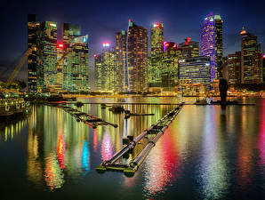 Wallpapers USA Building Marinas Chicago city Bay Night time