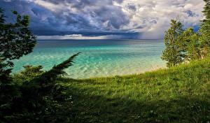 Bilder Vereinigte Staaten Flusse Küste Gras Bäume Leelanau Michigan Natur