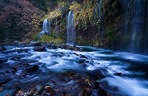 Hintergrundbilder Vereinigte Staaten Flusse Wasserfall Herbst Kalifornien Sacramento River Natur