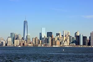 Fotos Vereinigte Staaten Wolkenkratzer New York City Manhattan Hudson Städte