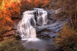 Fotos Vereinigte Staaten Wasserfall Herbst Tennessee Natur