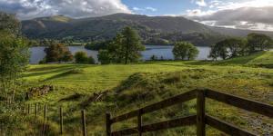 Hintergrundbilder Vereinigtes Königreich Flusse Grünland Zaun Bäume Cumbria Natur