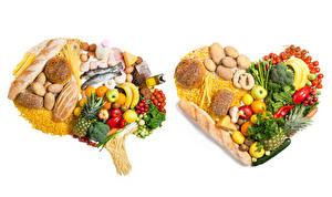 Fotos Gemüse Obst Brot Fische - Lebensmittel Käse Kartoffel Tomate Bananen Weißer hintergrund Herz Makkaroni das Essen