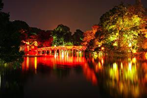 壁纸、、ベトナム、公園、川、橋、秋、木、夜、Hanoi、自然