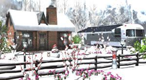 Pictures Winter Building Crocuses Snow Fence Snowman 3D Graphics