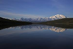Pictures Alaska USA Mountains Forests Rivers Snow Reflection Denali National Park , mount Denali Nature