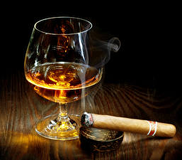 Pictures Alcoholic drink Stemware Cigars Smoke Food
