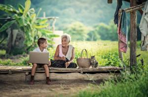 Hintergrundbilder Asiatisches Hauskatze Junge Alte Frau Weidenkorb Sitzt Gras Notebook Kinder