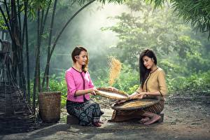 Fonds d'écran Asiatique Céréale 2 S'asseyant Cheveux noirs Fille Filles