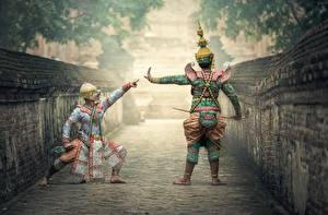 Picture Asian Masks Two Uniform Dancing