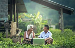壁纸,,亚洲人,老妻,男孩,坐,草,筆記型電腦,2 兩,儿童