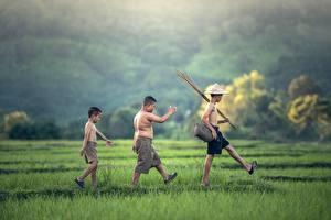 Image Asian Three 3 Boys Hat Shorts Grass Stroll Children