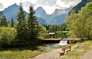 Fotos Österreich Gebirge Alpen Bäume Bank (Möbel) Schiederweiher, Hinterstoder Natur