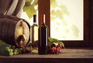 Wallpapers Cask Wine Grapes Bottle