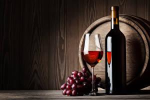 Pictures Barrel Wine Grapes Bottle Stemware