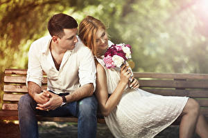 Images Bouquets Couples in love Man Bench Sit Two Brown haired Smile Dating female