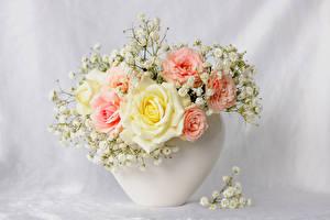 Fotos Sträuße Rosen Vase Blumen