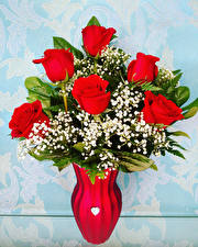 Fotos Sträuße Rosen Vase Rot Blumen