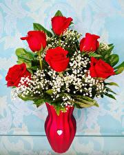 Fondos de escritorio Un ramo Rosas Jarrón Rojo Flores