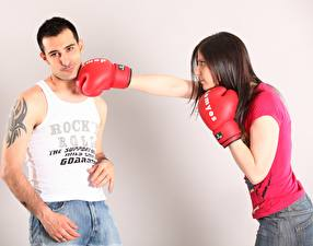 Image Boxing Men To hit Glove Singlet Tattoos 2 female