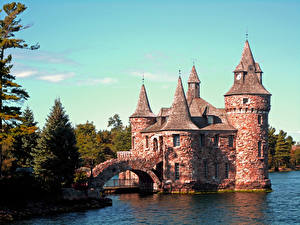 Hintergrundbilder Brücken Burg USA Bäume Boldt Castle, HART Island, state of new York