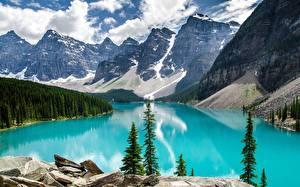 Bilder Kanada Gebirge Steine Wälder See Park Landschaftsfotografie Banff Moraine Lake, Alberta