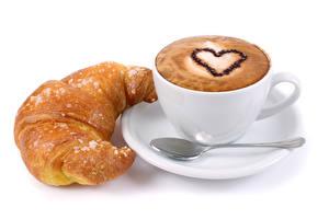 Papéis de parede Cappuccino Croissant Fundo branco Chávena Coração Colher Alimentos