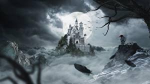 Bakgrundsbilder på skrivbordet Borg Kråkor På natten Månen Klippa Fantasy