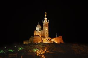 Fotos Kathedrale Frankreich Nacht Hügel Notre-Dame de La garde, Marseille Städte