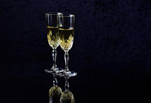 Image Champagne Black background Stemware Two