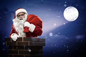 Wallpaper Night time Moon Santa Claus Winter hat Beard Chimney
