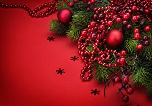 Image New year Berry Red background Branches Snowflakes Balls