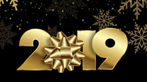Picture New year Black background 2019 Snowflakes