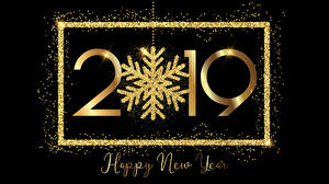 Photo New year Black background English 2019 Snowflakes