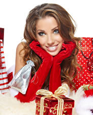 Desktop wallpapers New year Brown haired Glance Glove Gifts Hands young woman