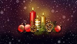Hintergrundbilder Neujahr Kerzen Kugeln Zapfen