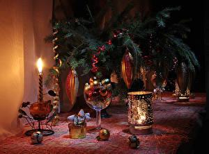 Hintergrundbilder Neujahr Kerzen Ast Kugeln