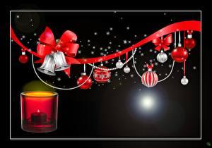 Hintergrundbilder Neujahr Kerzen Feuer Schleife Schwarzer Hintergrund Glocke Band Kugeln