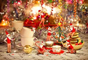 壁纸,,新年,蜡烛,火,假日,聖誕老人,保暖帽,坐,茶杯,
