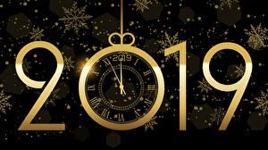 桌面壁纸,,新年,時鐘,黑色背景,2019,雪花,