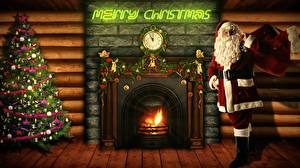Papel de Parede Desktop Ano-Novo Relógio Fogo Lareira Inglês Árvore de Natal Papai Noel Presentes Barba Lunettes