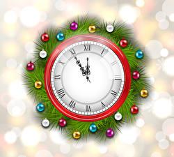 Papel de Parede Desktop Ano-Novo Relógio Mostrador de relógio   Bolas